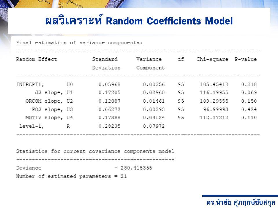ผลวิเคราะห์ Random Coefficients Model