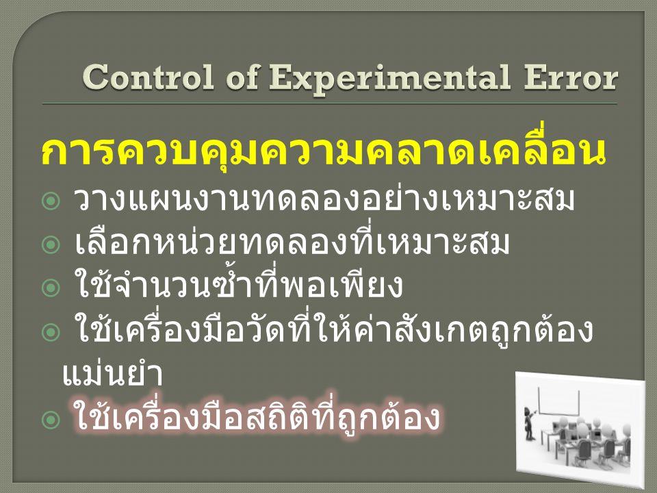 Control of Experimental Error