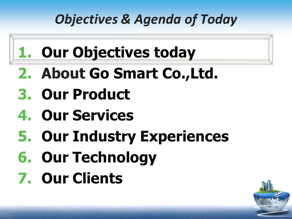 Objectives & Agenda of Today