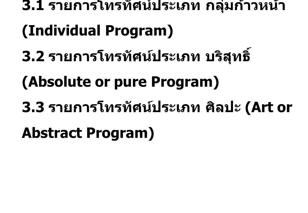 3. 1 รายการโทรทัศน์ประเภท กลุ่มก้าวหน้า (Individual Program) 3