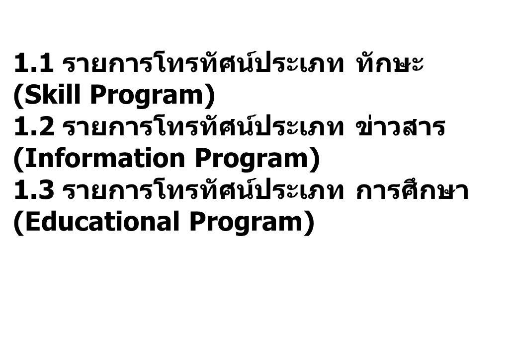 1. 1 รายการโทรทัศน์ประเภท ทักษะ (Skill Program) 1