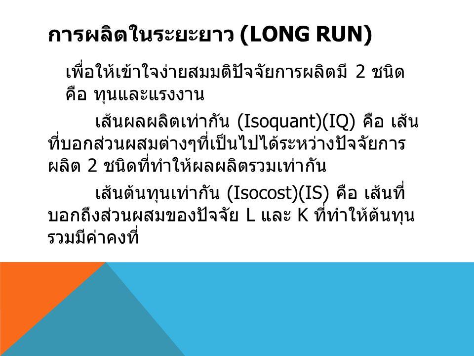 การผลิตในระยะยาว (Long run)