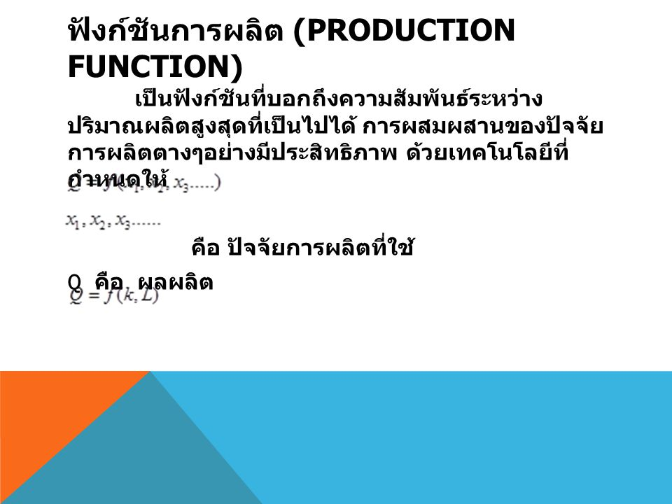 ฟังก์ชันการผลิต (Production Function)