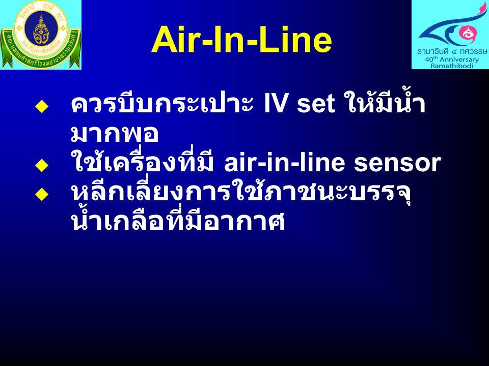 Air-In-Line ควรบีบกระเปาะ IV set ให้มีน้ำมากพอ