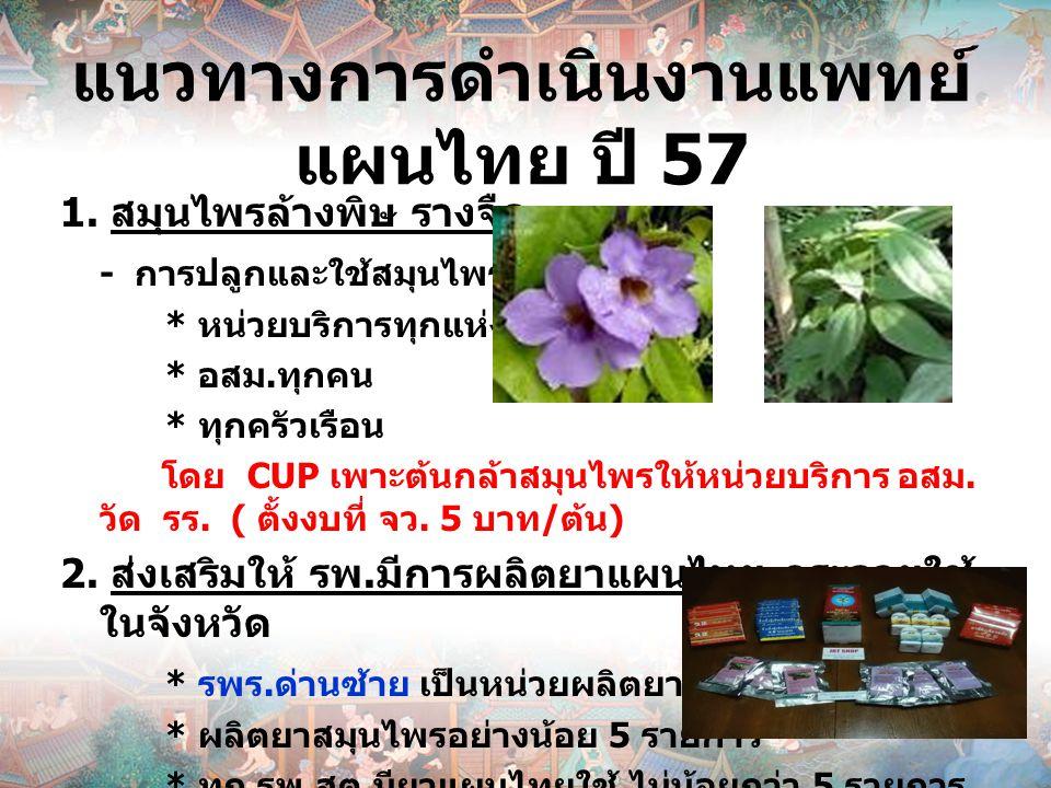 แนวทางการดำเนินงานแพทย์แผนไทย ปี 57