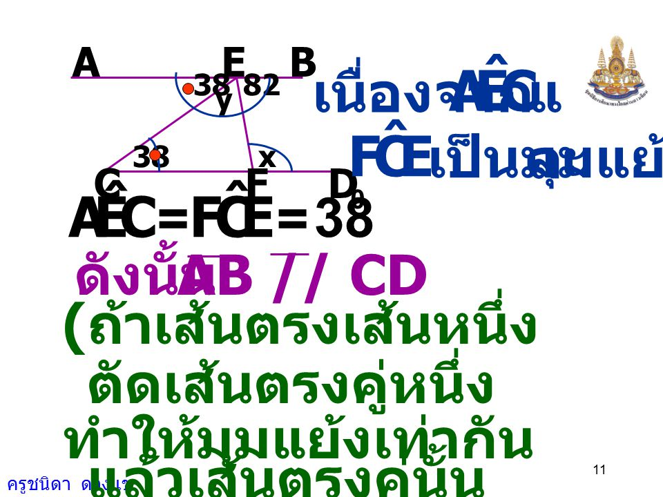 C E A ˆ E C F ˆ C E A ˆ F เนื่องจาก และ เป็นมุมแย้ง = 38 ดังนั้น