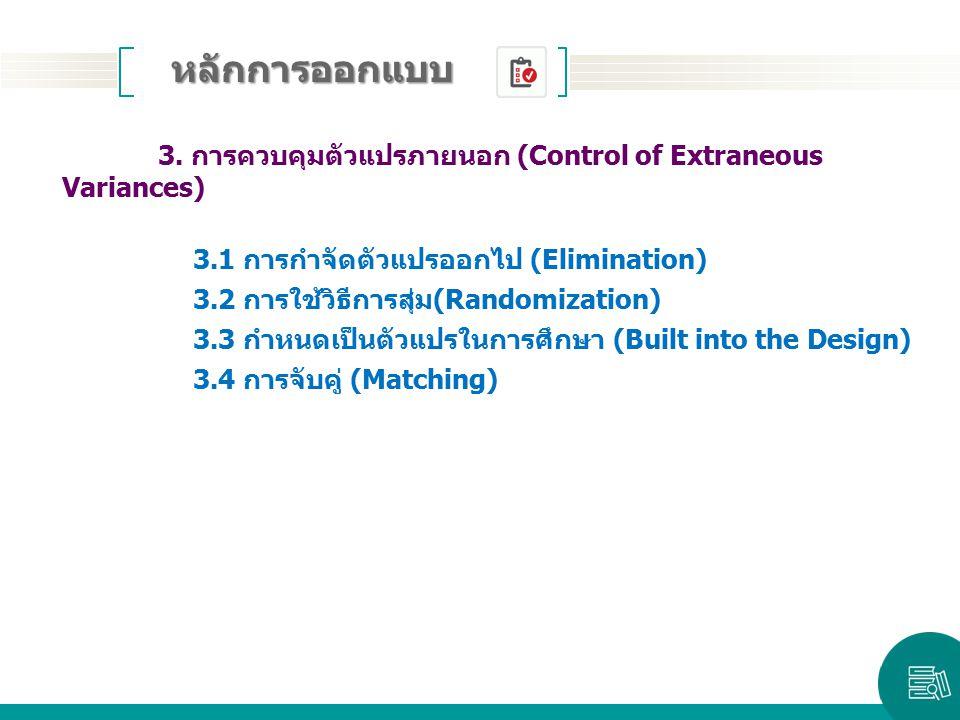 หลักการออกแบบ 3. การควบคุมตัวแปรภายนอก (Control of Extraneous