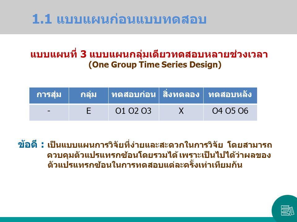 1.1 แบบแผนก่อนแบบทดสอบ แบบแผนที่ 3 แบบแผนกลุ่มเดียวทดสอบหลายช่วงเวลา
