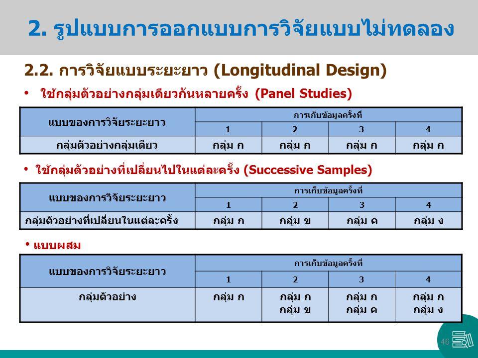 2. รูปแบบการออกแบบการวิจัยแบบไม่ทดลอง