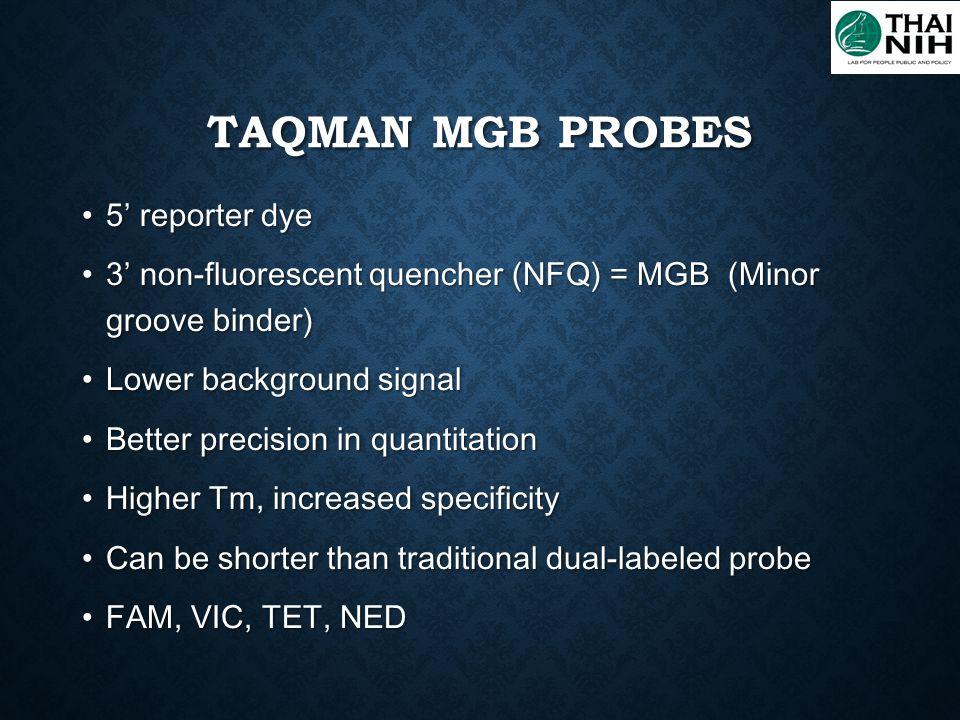 TaqMan MGB probes 5' reporter dye