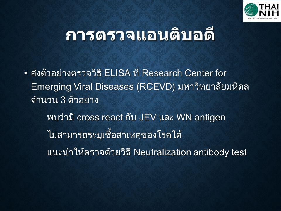 การตรวจแอนติบอดี ส่งตัวอย่างตรวจวิธี ELISA ที่ Research Center for Emerging Viral Diseases (RCEVD) มหาวิทยาลัยมหิดล จำนวน 3 ตัวอย่าง.