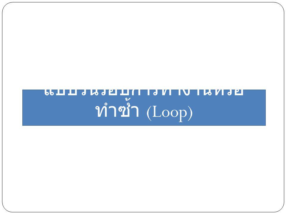 แบบวนรอบการทำงานหรือทำซ้ำ (Loop)