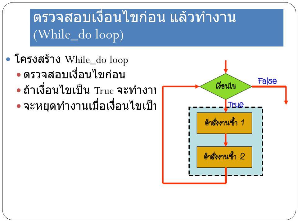 ตรวจสอบเงื่อนไขก่อน แล้วทำงาน (While_do loop)