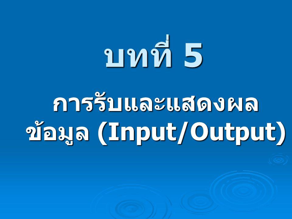 การรับและแสดงผลข้อมูล (Input/Output)