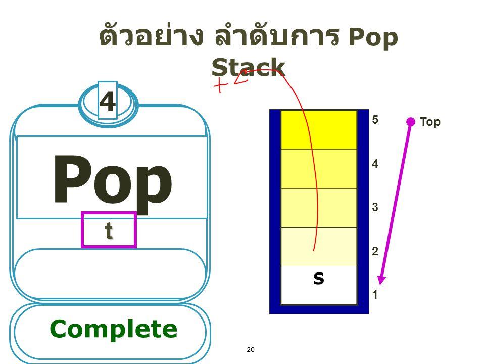 ตัวอย่าง ลำดับการ Pop Stack