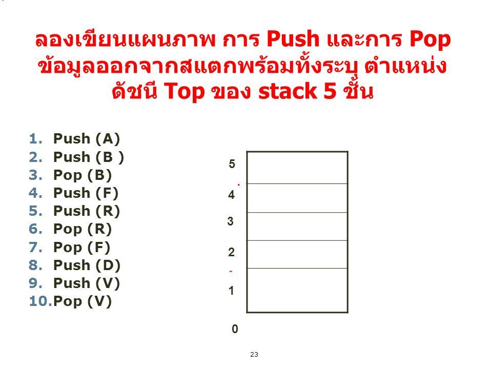 ลองเขียนแผนภาพ การ Push และการ Pop ข้อมูลออกจากสแตกพร้อมทั้งระบุ ตำแหน่ง ดัชนี Top ของ stack 5 ชั้น