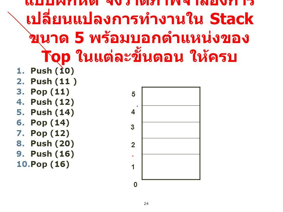แบบฝึกหัด จงวาดภาพจำลองการเปลี่ยนแปลงการทำงานใน Stack ขนาด 5 พร้อมบอกตำแหน่งของ Top ในแต่ละขั้นตอน ให้ครบ