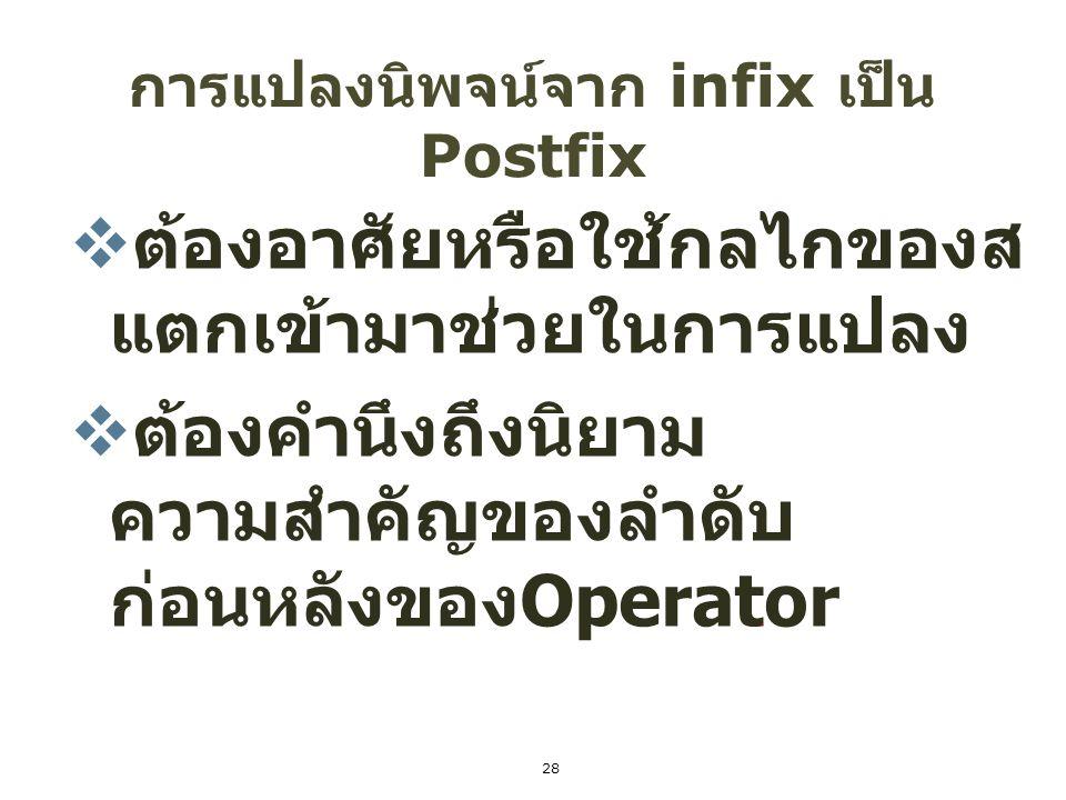 การแปลงนิพจน์จาก infix เป็น Postfix