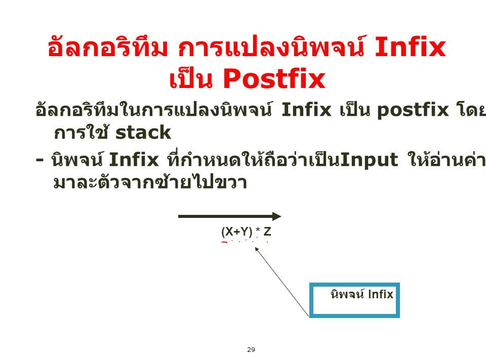 อัลกอริทึม การแปลงนิพจน์ Infix เป็น Postfix