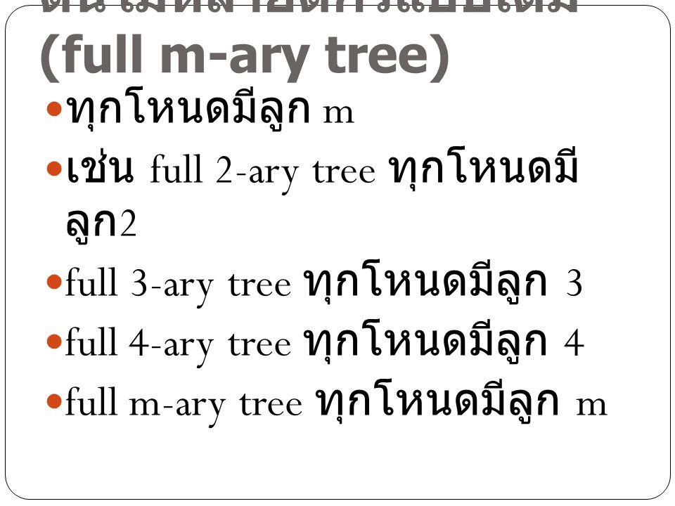 ต้นไม้หลายดีกรีแบบเต็ม (full m-ary tree)