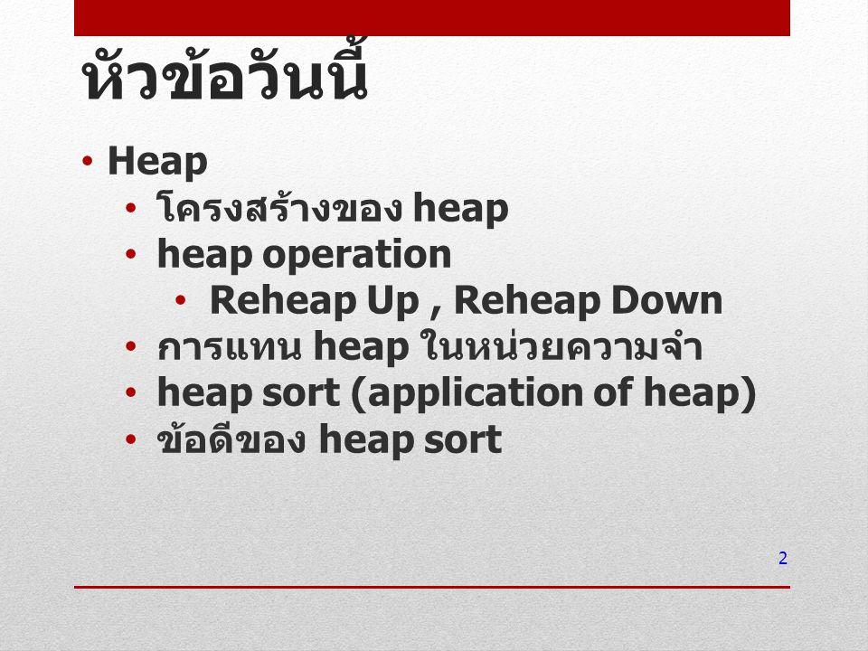 หัวข้อวันนี้ Heap โครงสร้างของ heap heap operation