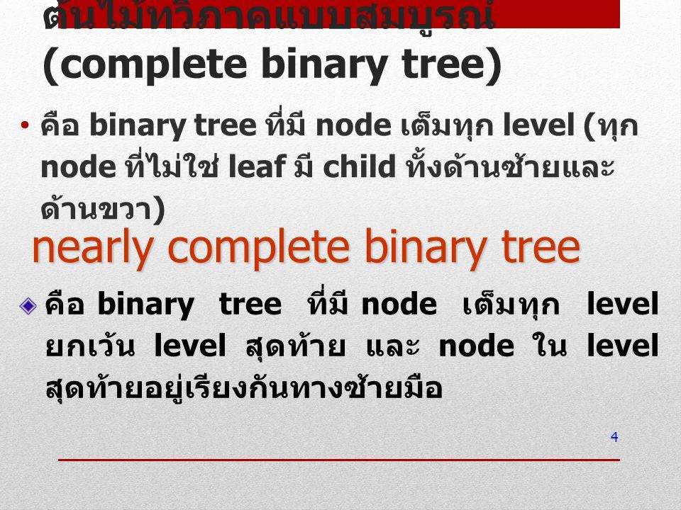 ต้นไม้ทวิภาคแบบสมบูรณ์ (complete binary tree)