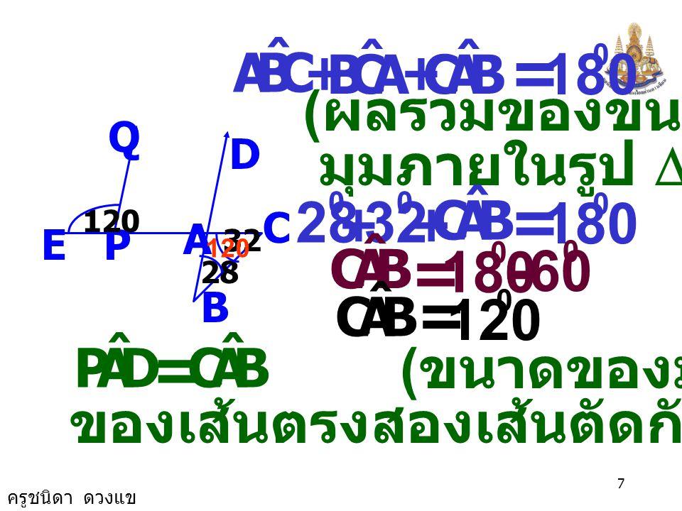 = = = - = = 180 28 32 180 180 60 120 (ผลรวมของขนาด มุมภายในรูป D )