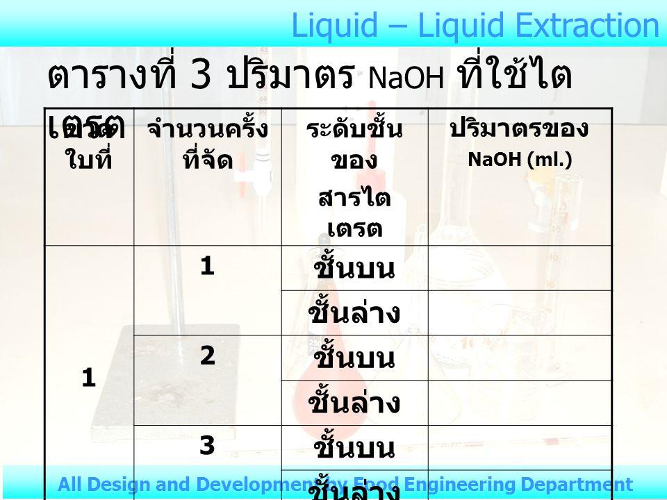 ตารางที่ 3 ปริมาตร NaOH ที่ใช้ไตเตรต