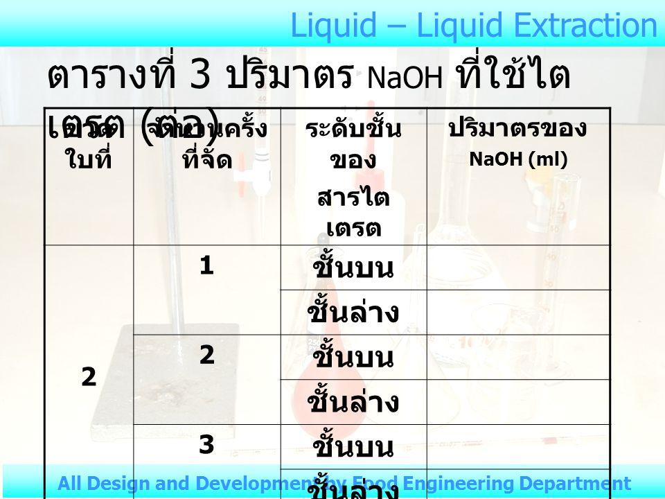 ตารางที่ 3 ปริมาตร NaOH ที่ใช้ไตเตรต (ต่อ)