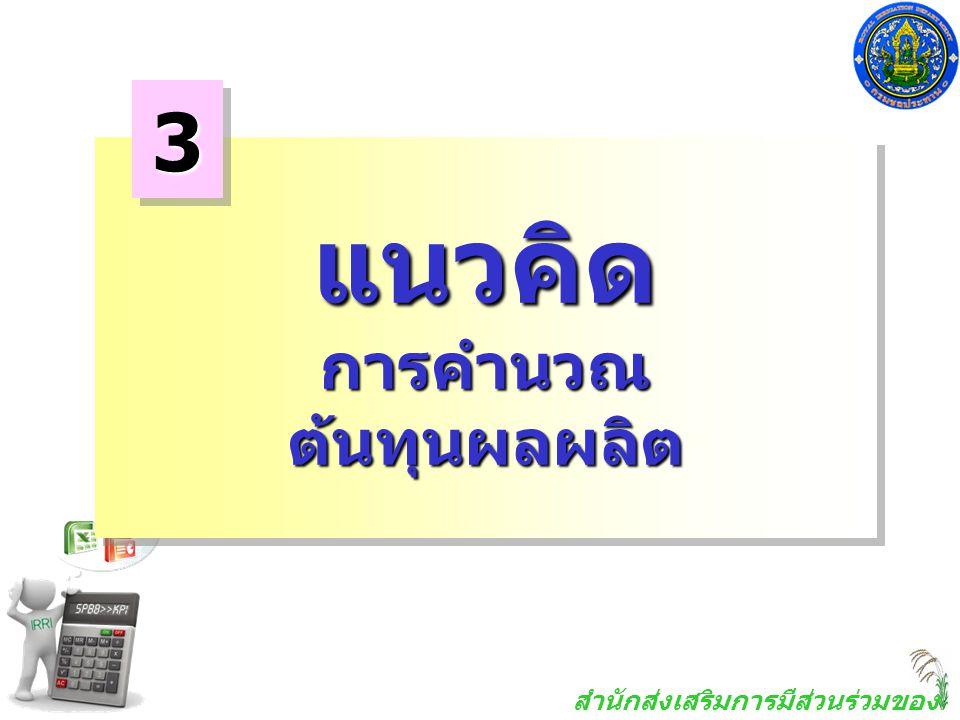 3 แนวคิด การคำนวณ ต้นทุนผลผลิต