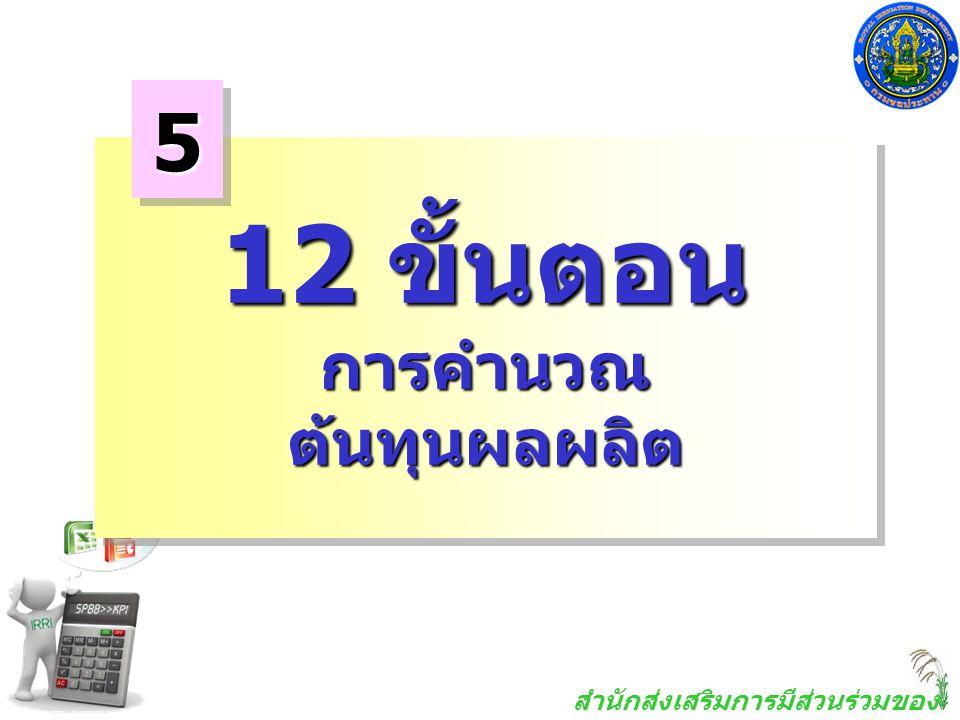 5 12 ขั้นตอน การคำนวณ ต้นทุนผลผลิต