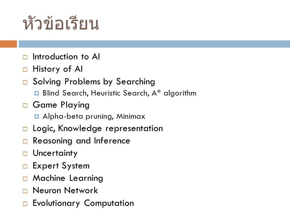 หัวข้อเรียน Introduction to AI History of AI
