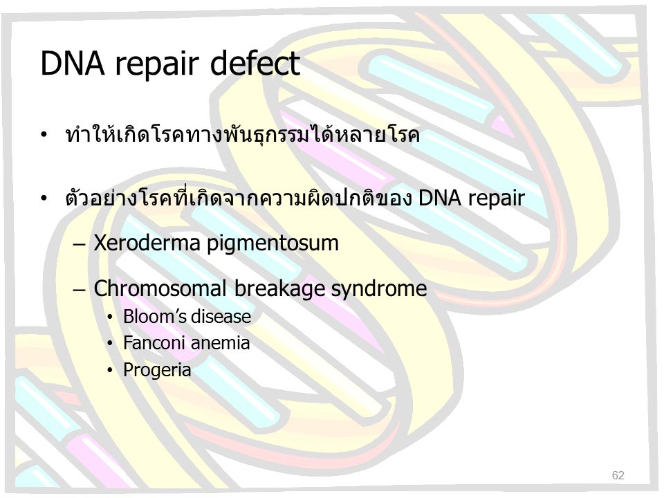 DNA repair defect ทำให้เกิดโรคทางพันธุกรรมได้หลายโรค