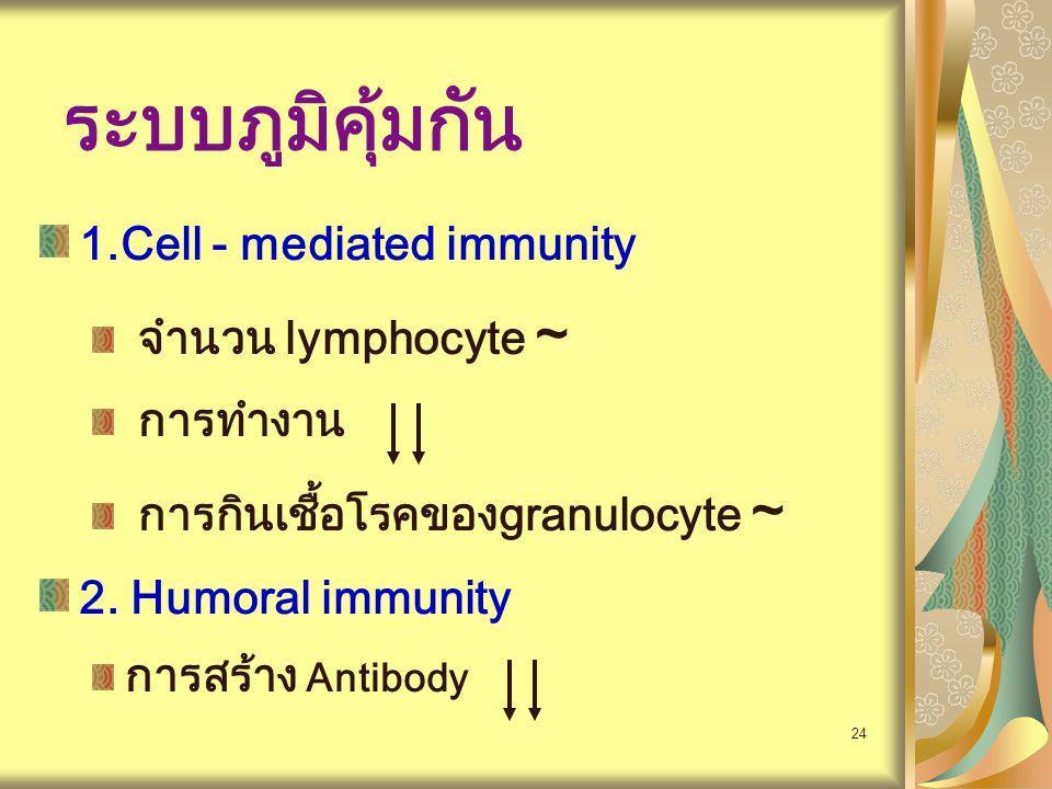ระบบภูมิคุ้มกัน 1.Cell - mediated immunity จำนวน lymphocyte ~ การทำงาน