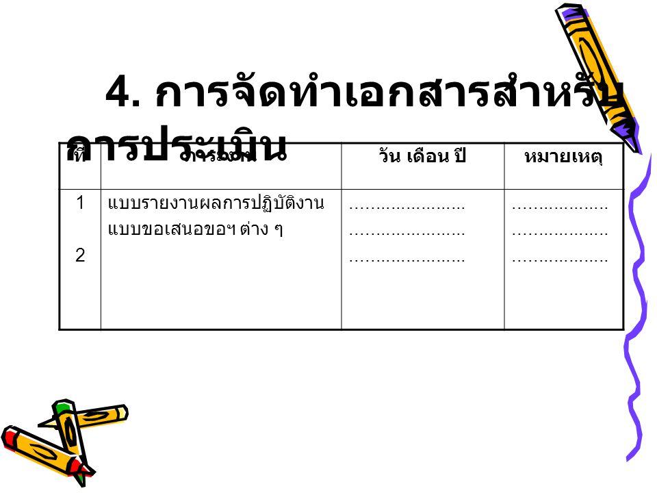 4. การจัดทำเอกสารสำหรับการประเมิน