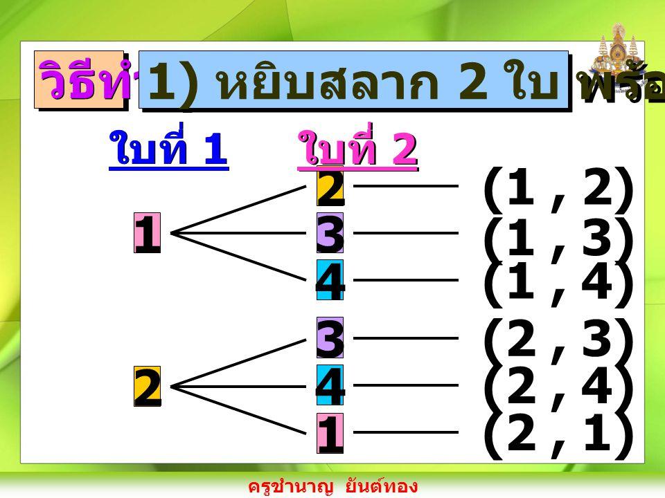วิธีทำ 1) หยิบสลาก 2 ใบ พร้อมกัน 2 3 4 1 (1 , 2) (1 , 3) 1 (1 , 4)