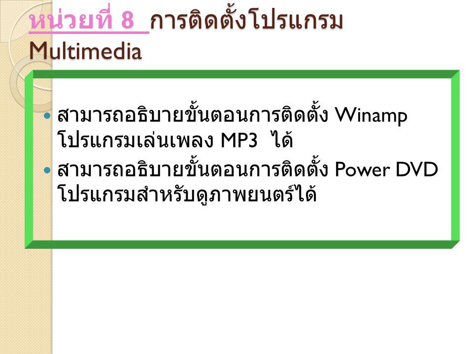หน่วยที่ 8 การติดตั้งโปรแกรม Multimedia