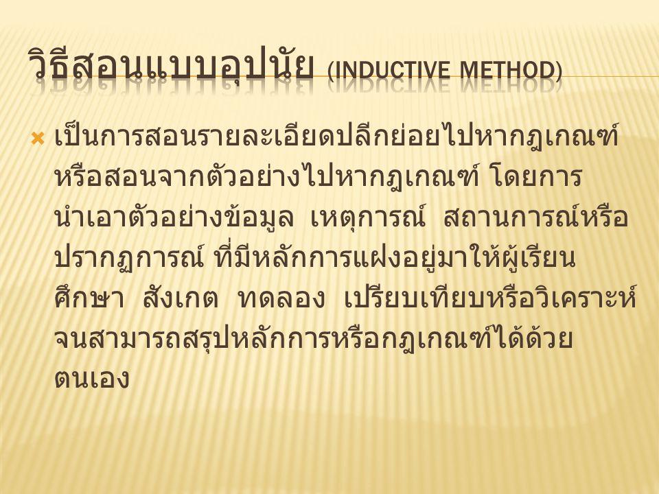 วิธีสอนแบบอุปนัย (Inductive Method)