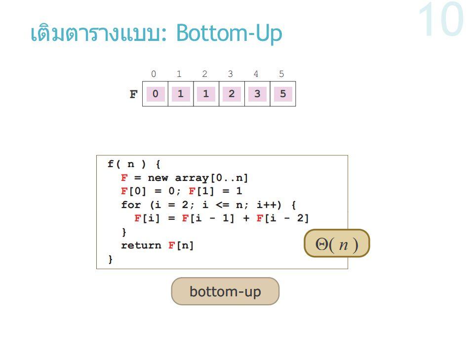 เติมตารางแบบ: Bottom-Up