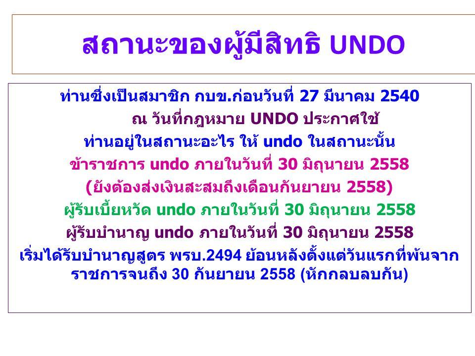 สถานะของผู้มีสิทธิ UNDO