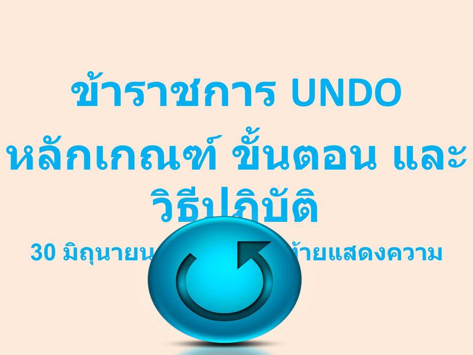 ข้าราชการ UNDO หลักเกณฑ์ ขั้นตอน และวิธีปฏิบัติ
