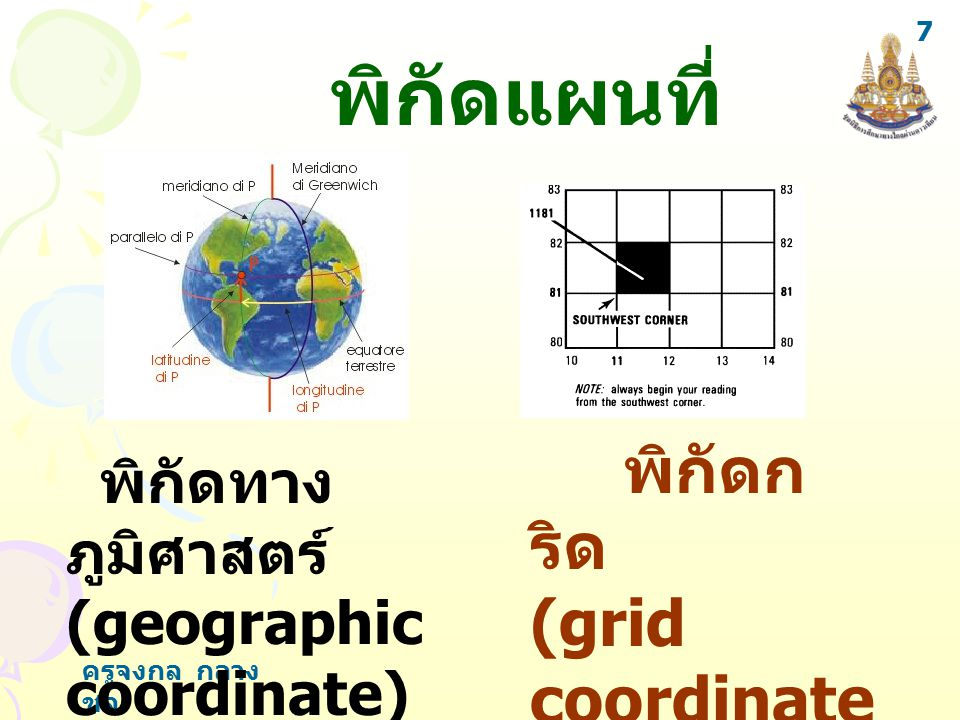 พิกัดแผนที่ พิกัดกริด (grid coordinate) พิกัดทางภูมิศาสตร์
