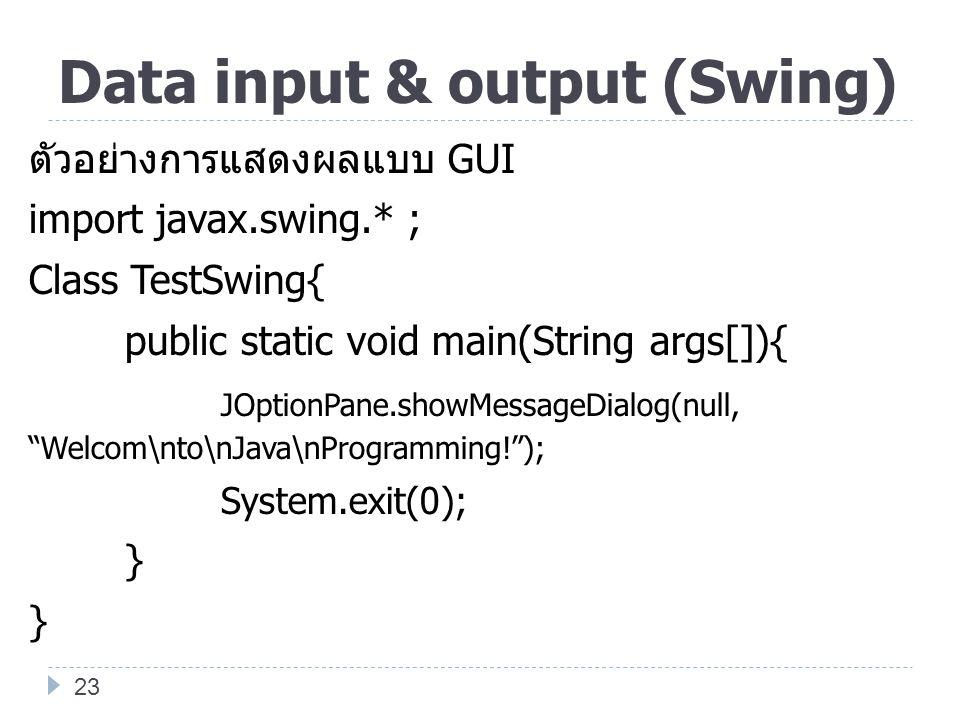 Data input & output (Swing)