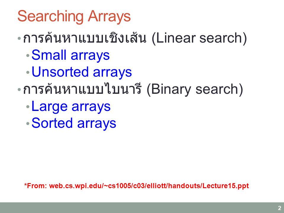 Searching Arrays การค้นหาแบบเชิงเส้น (Linear search) Small arrays
