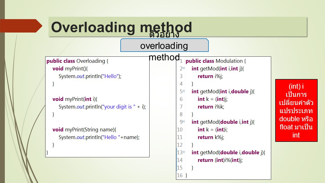 Overloading method ตัวอย่าง overloading method (int) i