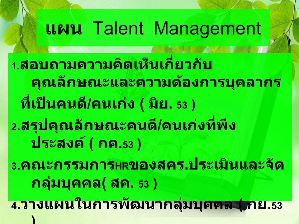 แผน Talent Management ที่เป็นคนดี/คนเก่ง ( มิย. 53 )