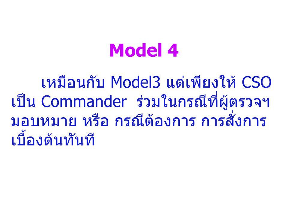 Model 4 เหมือนกับ Model3 แต่เพียงให้ CSO เป็น Commander ร่วมในกรณีที่ผู้ตรวจฯมอบหมาย หรือ กรณีต้องการ การสั่งการเบื้องต้นทันที