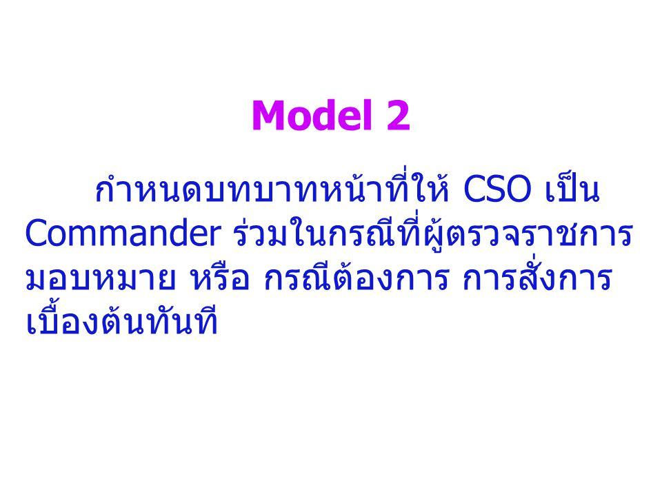 Model 2 กำหนดบทบาทหน้าที่ให้ CSO เป็น Commander ร่วมในกรณีที่ผู้ตรวจราชการมอบหมาย หรือ กรณีต้องการ การสั่งการเบื้องต้นทันที