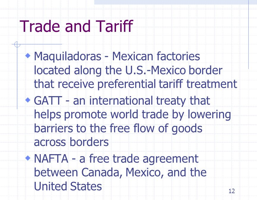Trade and Tariff Maquiladoras - Mexican factories located along the U.S.-Mexico border that receive preferential tariff treatment.