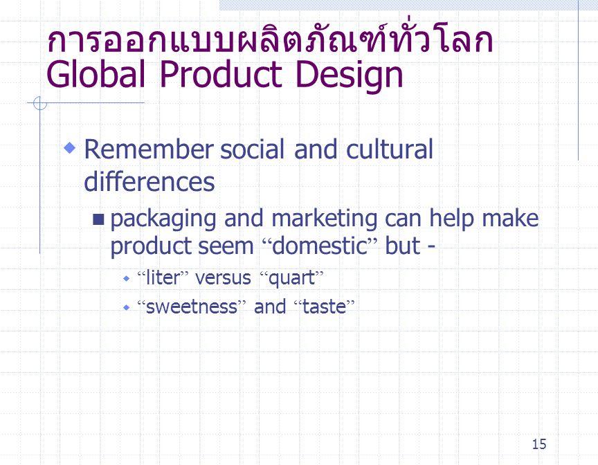 การออกแบบผลิตภัณฑ์ทั่วโลก Global Product Design